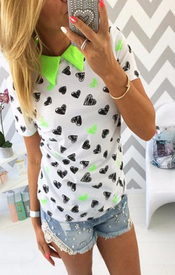 Ležérní tričko s límečkem Zelená