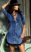 Zvětšit fotografii - Riflové šaty s krajkou