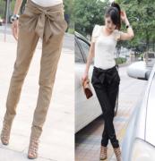 Kalhoty s mašlí v pase béžové