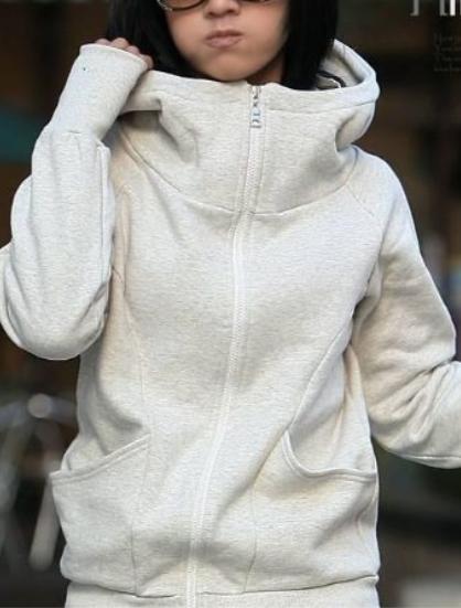 Dámská mikina s vysokým límcem a kapucí šedá