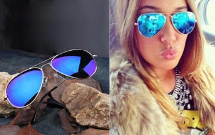 Modré dámské sluneční brýle se stříbrnou obroučkou