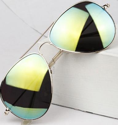 Dámské zelené sluneční brýle se stříbrnou obroučkou