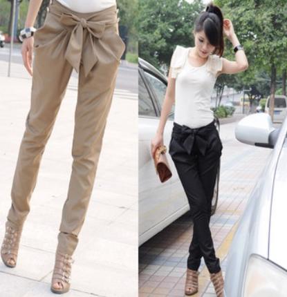 Kalhoty s mašlí v pase černé