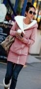 Dámská hřejivá mikina s kapucí růžová