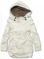 Dámská mikina s knoflíky s leopardí kapucí bílá