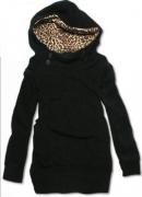 Dámská mikina s knoflíky s leopardí kapucí černá