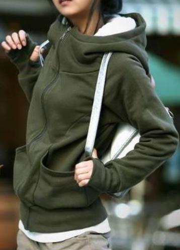 Dámská mikina s vysokým límcem a kapucí zelená
