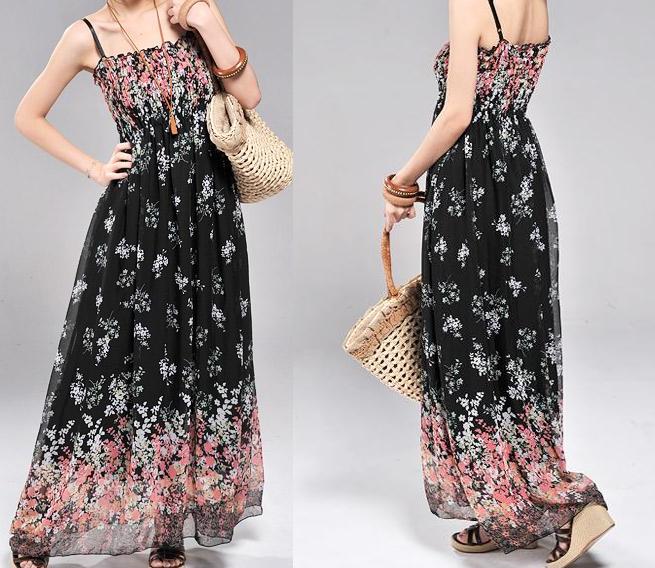 Dámské letní pohodlné maxi šaty černé UNI velikost