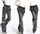 Dámské riflové tenké pohodlné kalhoty černé