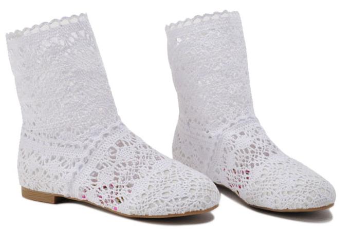 Pletené boty bílé