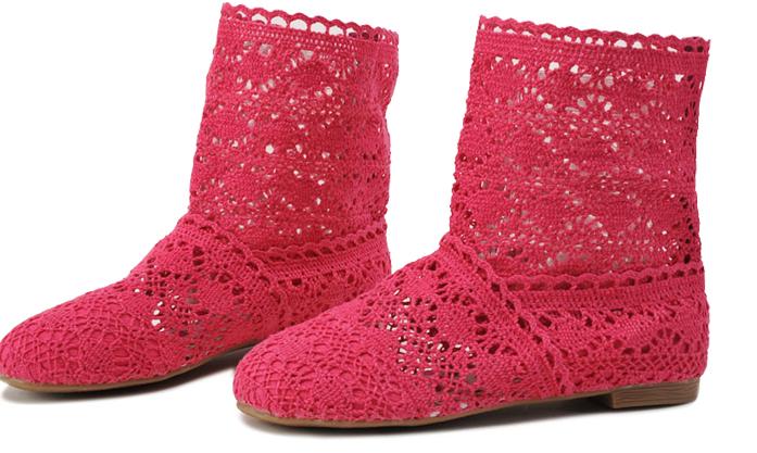 Pletené boty červené