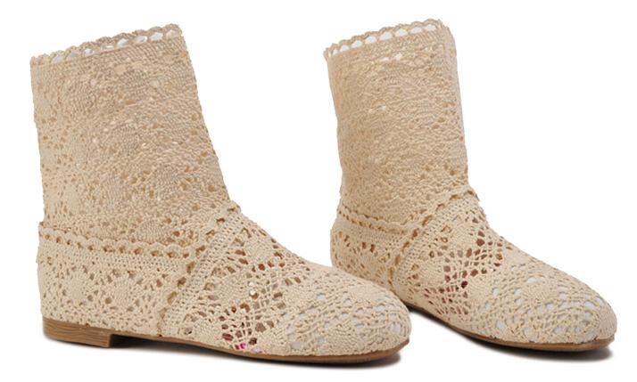 Pletené boty béžové