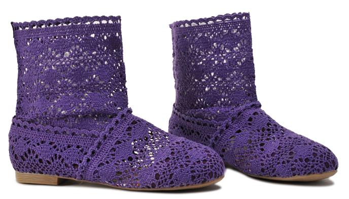 Pletené boty fialové