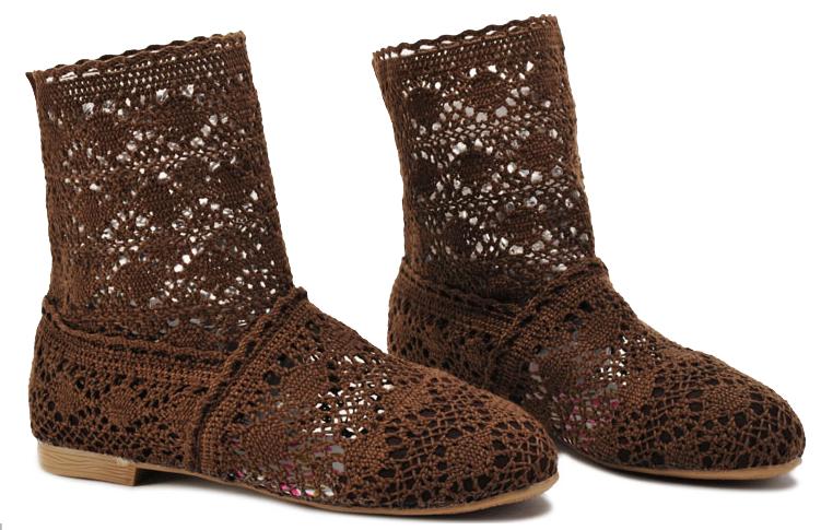 Pletené boty hnědé