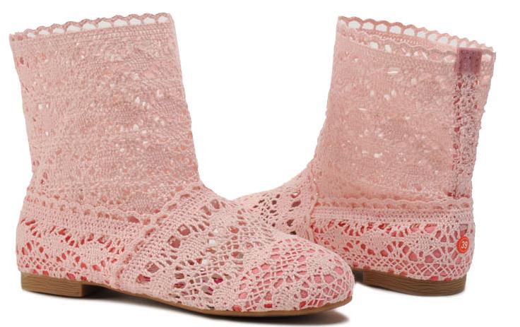 Pletené boty růžové