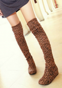 Semišové kozačky hnědé Leopard