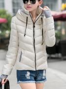 Dámská bunda s vysokým límcem béžová