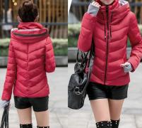 Dámská bunda s vysokým límcem červená