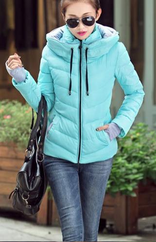 Dámská bunda s vysokým límcem modrá