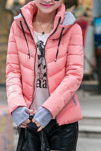 Dámská bunda s vysokým límcem růžová