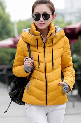 Dámská bunda s vysokým límcem tm. žlutá
