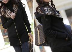 Mikina s leopardí kapucí černá