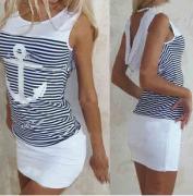 Šaty námořnického vzoru bílé