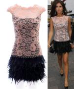 Šaty růžovo-černé s třásněmi ( peříčky )