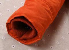 Dámská zimní prošívaná oranžová bunda s kožíškem