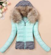 Dámská bunda s kožešinovým límcem Sky blue