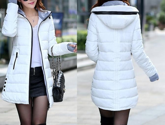 Dámská dlouhá bunda bílá