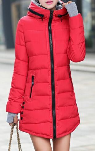 Dámská dlouhá bunda červená