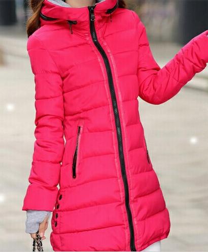Dámská dlouhá bunda rose červená