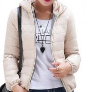 Dámská prošívaná bunda s kapucí béžová