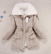 Dámská zimní prošívaná béžová bunda s kožíškem