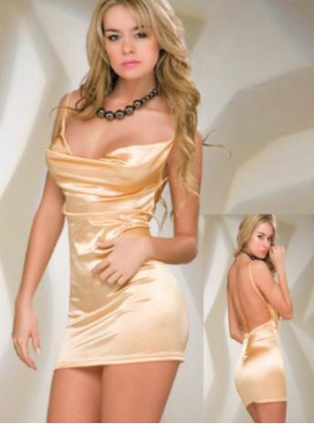 Dámské sexy šaty s ozdobným řetízkem + tanga