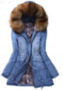 Riflová bunda teplá s kožešinou