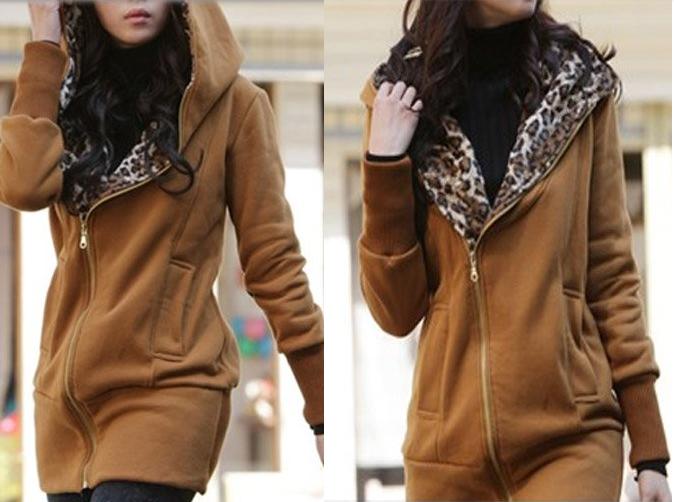 Mikina s leopardí kapucí hnědá