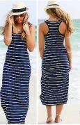 modré pruhované dlouhé šaty