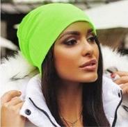 Dámská barevná spadená čepice - Neon zelená
