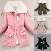 Dámská zimní prošívaná bunda s kožíškem