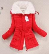 Červená bunda s kožíškem