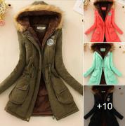 Dámská zimní prošívaná bunda s kožíškem a kapucí - Tmavě růžový