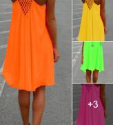 Dámské krátké letní šaty v neonových barvách