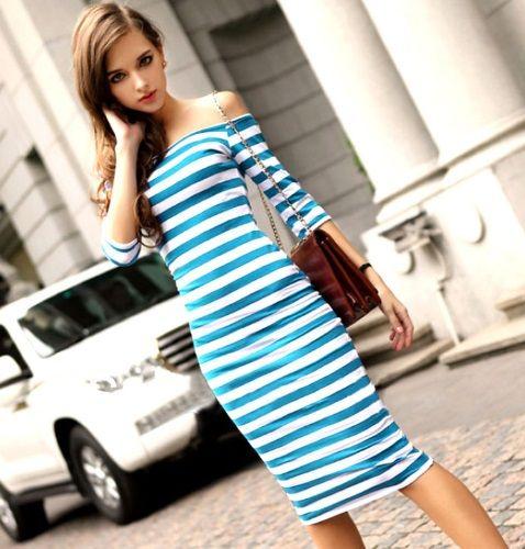 84ff5e8e29a Dámské letní bavlněné pruhované šaty