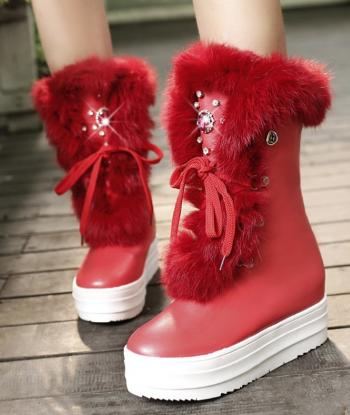 Dámské sněhule s kožíškem - Červené