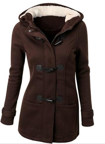 Dámský kabát s kapucí - Hnědý