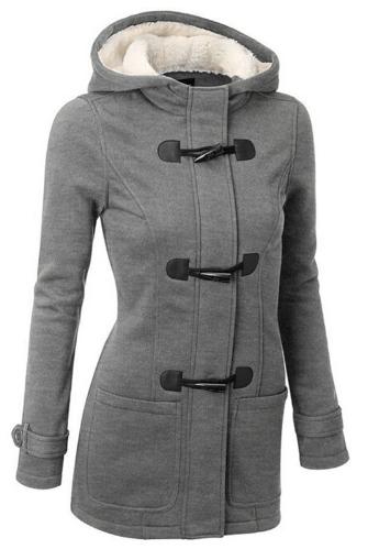 Dámský kabát s kapucí - Světle šedá