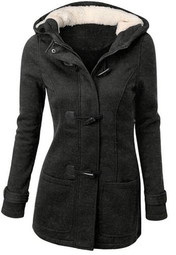 Dámský kabát s kapucí - Tmavě šedá