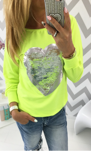 Neon TOP HEART - Žlutá